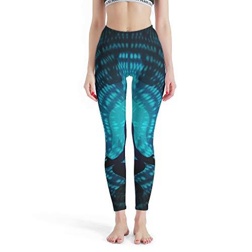 XJJ88 Meditate Pilateshose für Damen, Custom Tights Yoga, Blau mit Mustern bedruckt, Capri Workout Strumpfhose Leggings für Frauen Sport Gym XS weiß