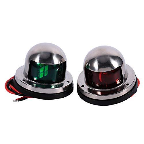 1 Paar 12V Bogen LED Navigationslichter für Boote, Marine Yacht Licht LED rot grün, Edelstahl Pontons Segeln Signalleuchten für Boote