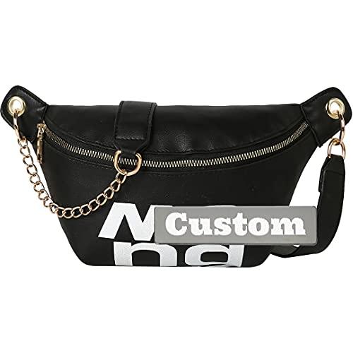 Nombre Personalizado Lady Backpack Casual Daypack Senderismo para Hombres para niños PU PUS Mochila de Cuero Monedero (Color : Black, Size : One Size)
