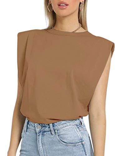 MISSACTIVER Women Summer Loose Slim Tank Top Solid Cotton Sleeveless Vest Round Neck Cami Shoulder Pads T-Shirts (Medium, Khaki)
