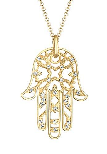 Elli PREMIUM Halskette Damen Hamsa Hand mit Swarovski® Kristalle in 925 Sterling Silber