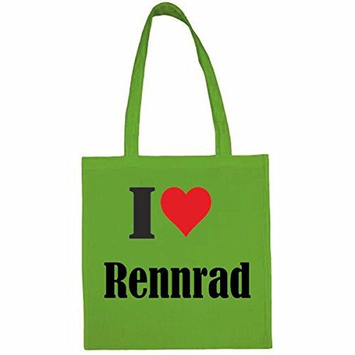 Tasche I Love Rennrad Größe 38x42 Farbe Grün Druck Schwarz