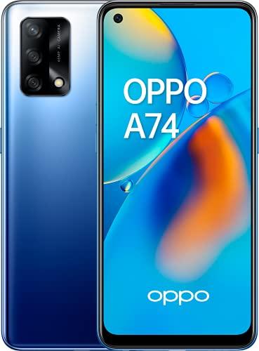 "OPPO A74 - Pantalla 6,43""(AMOLED FHD+, 6 GB RAM+ 128 GB Almacenamiento, Qualcomm Snapdragon 662, Cuádruple cámara 48++2+2 MP, 5000 mAh con Carga rápida de 33 W) Azul [Versión ES/PT]"