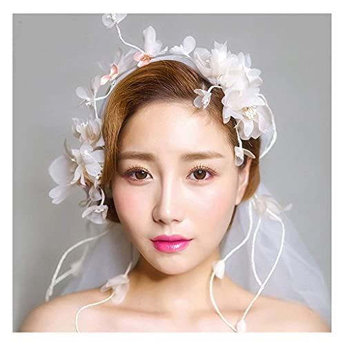 NZDY Guirnalda de flores Novia Tiara blanca Princesa coreana Encaje Boda Accesorios...