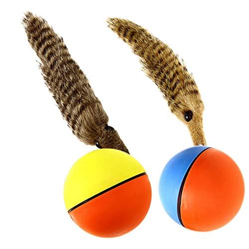 2 Stück Wieselball Weazelball batteriebetriebener Ball Hunde Katzen Spielzeug