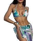 Maillot de bain fendu des femmes, Maillot de bain pour femmes Split bikini imprimé géométrique bikini en trois pièces