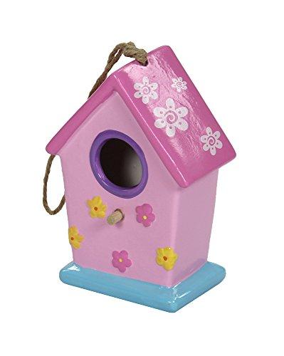 Keramik Vogelhaus Dach glatt - klein pink