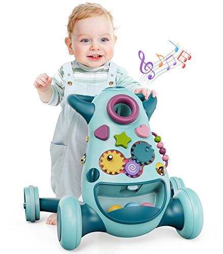 GeyiieTOYS Interactive Baby Walker 3 Stage Push Along Walker for Kids 6...