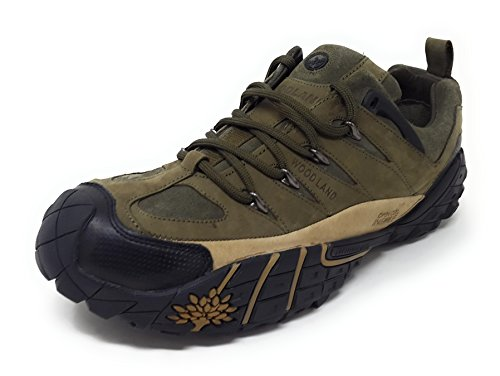 Woodland Men's Olive Green Leather Sneakers - (5 UK)