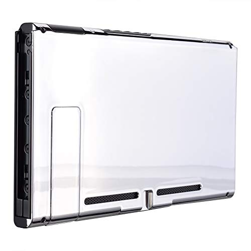 eXtremeRate Chrome Silver Console Back Plate DIY Replacement Housing Shell Case for Nintendo Switch Console with Kickstand JoyCon Shell NOT Included