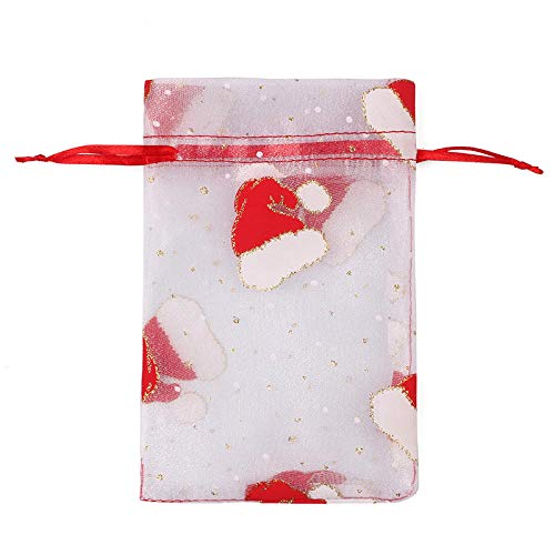 50 Uds., Bolsa de regalo de organza con cordón de Navidad, bolsas de regalo de chocolate con concha de caramelo para boda-11_10X15