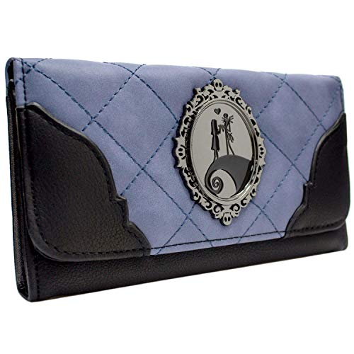 Cartera de Nightmare Before Christmas Jack & Sally tomados de la Mano Distintivo Lila