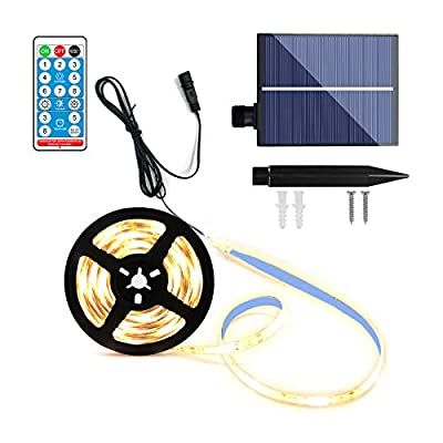 Solar Strip Lights with Remote, 16.4Ft 150 LEDs Outdoor Rope Light Upgraded Solar Panel with Timer, Auto ON/Off, 3M Self-Adhesive, Dimmable and Cuttable for Garden Patio Pool Christmas (Warm White)