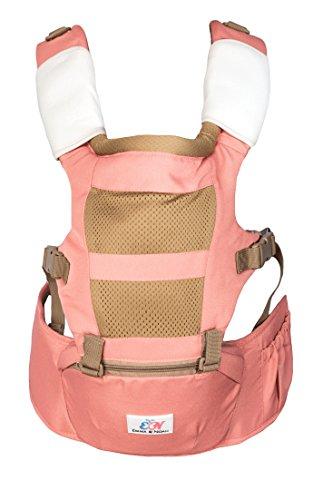 Emma & Noah mochila portabebés ergonomica, adaptada para bebés y padres (recomendado para 6 a 36 meses de edad), color: rosa, ideal como porteo bebé, porta bebe, baby carrier, saco portabebe