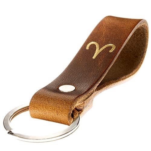 LIEBHARDT Schlüsselanhänger Leder mit Sternzeichen in Gold geprägt das Geschenk zum Geburtstag für deinen Lieblingsmensch ob Frau oder Mann Handmade in Germany (Widder)