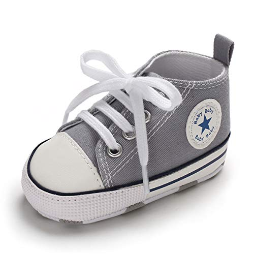 Sakuracan Baby Shoes Boys Girls Toddler High-Top Ankle Canvas Sneakers Soft Sole Newborn Infant First Walkers Crib Shoes( 0-6 Months Infant,A-Grey