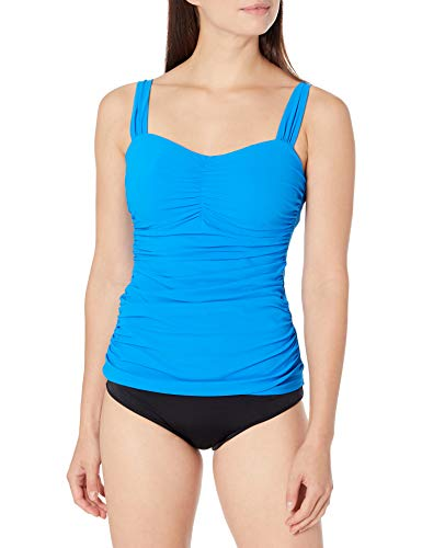 Profile by Gottex Women's Sweetheart Cup Sized Tankini Top Swimsuit, Tutti Frutti Blue, 34D