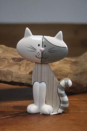 Kleine stehende Katze, Keramik/Holz, Katzenaufsteller H 11,5 cm, Katzenfigur