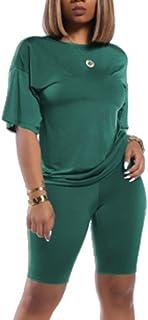 Women Lightweight 2 Piece Sports Outfit Knot Tie Up Tracksuit Shirt Shorts Jogger Sportswear Set Activewear