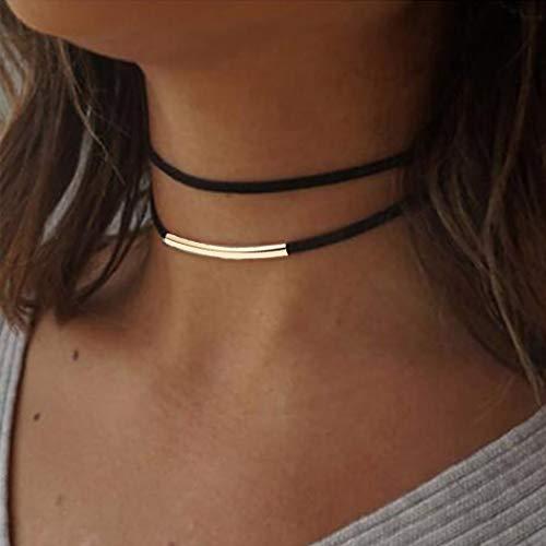 Handcess Collana a strati punk Collana girocollo in oro con catena in velluto nero per donne e ragazze