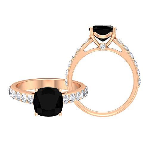 Anillo de ónix negro de 8,5 mm, corte cojín, anillo de moissanita D-VSSI, anillo solitario con piedras laterales, anillo de compromiso de oro (calidad AAA), 14K Oro rosa, Size:EU 70