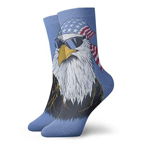 QUEMIN Calcetines Patriotic Eagle con gafas de sol 30cm Calcetines largos Atlético Algodón Medias de ocio Hombres Mujeres Unisex
