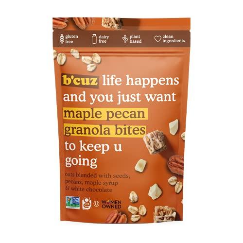 B'cuz Granola Bites 4-Bag Gluten Free Healthy Snacks for adults, Healthy Granola Gluten Free Snack - Kosher Snacks for Kids, Vegan Snack - 3 oz (Maple-Pecan (4-Bags))