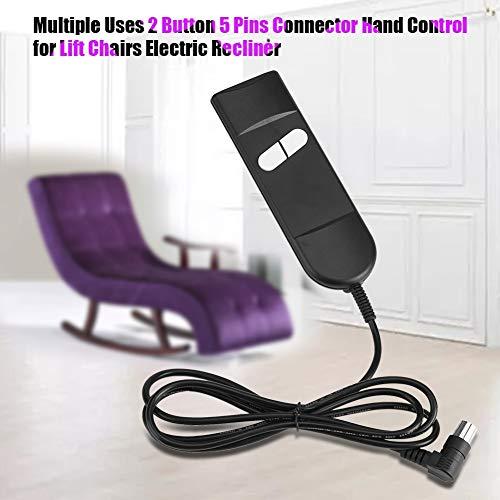 Belika Control de Mano reclinable: Enchufe Redondo de plástico Negro de 5 Pines para Controlador de sillón reclinable para Silla elevadora