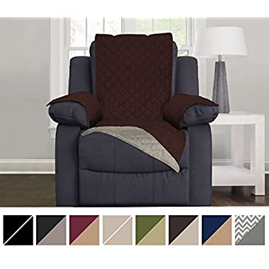 Sofa Shield Original Reversible Couch Slipcover Furniture Protector, Seat Width Up to 28 , 2 Inch Strap, Machine Wash, Slip Cover Throw for Pets, Dogs, Kids (Recliner: Chocolate/Beige)