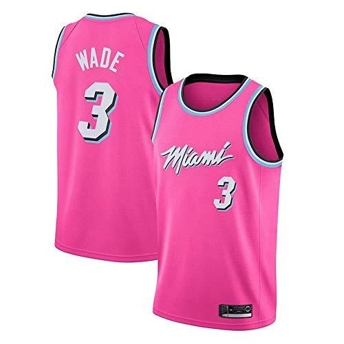 Shelfin - Camiseta de baloncesto de la NBA de Miami Heat del número 3 Wade, transpirable, grabada, color Rosa, tamaño XX-Large