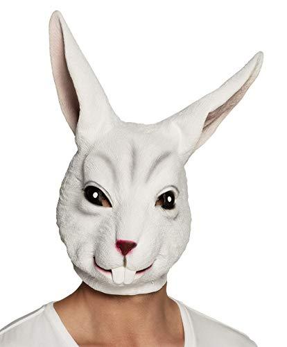 costumebakery - Kostüm Accessoires Zubehör Damen Herren Latex Hasen Bunny Maske, Kaninchen Mask, perfekt für Karneval, Fasching und Fastnacht, Weiß
