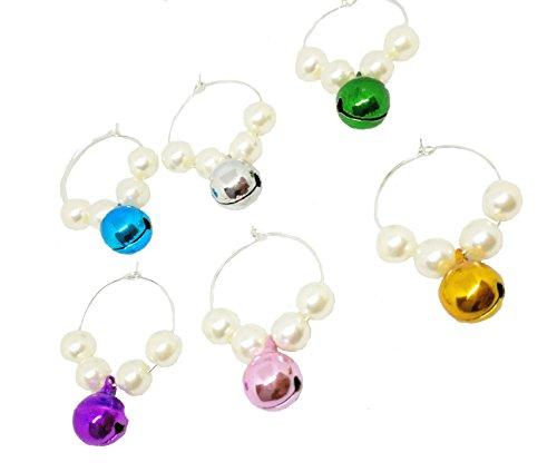 Verre à vin Charms Anneaux avec perles cloches faite à la main personnalisé Lot de 6 pour maison de cuisine Décoration de fête de mariage et fournitures par Bipy