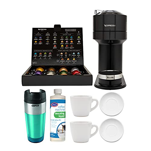 Nespresso Vertuo Next Classic Black Coffee and Espresso Machine with 2 Cup and Saucer Sets, Descaling Liquid and Tumbler Bundle (5 Items)