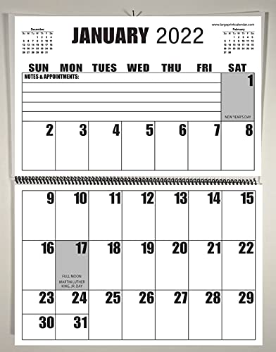 Jumbo Large Print 2022 Wall Calendar 13-months, - 17' x 11', or hanging it is 17' x 22'