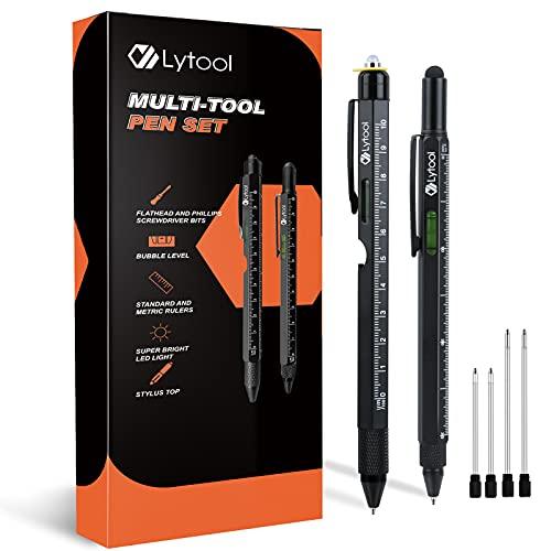 Lytool - Juego de 2 bolígrafos multifunción para hombre, luz LED, lápiz para pantalla táctil, regla, nivel de agua, abrebotellas, destornillador de estrella, cabeza plana, bolígrafo de bola