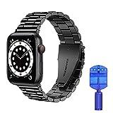 VOFOLEN Cinturino Compatibile con Apple Watch, Metallo Cinturini in Acciaio Inossidabile Sostituzione per iWatch Serie SE 6 5 4 3 2 1,nero,42mm