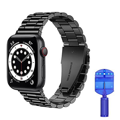 VOFOLEN Pulsera de metal compatible con Apple Watch, para hombres, ajustable, de acero inoxidable, para iWatch Series SE/6/5/4/3/2/1, negro, 38 mm