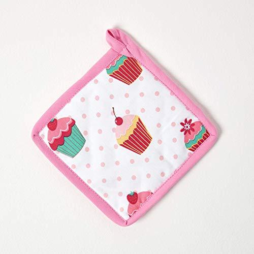 Homescapes – Pur Coton – Manique - Petits Gâteaux – Rose Bleu – 20 x 20 cm - Linge de Cuisine Entièrement Coordonné et Lavable