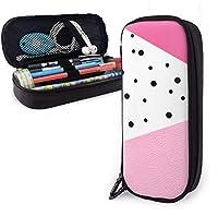 黒ドットピンクリーダー鉛筆ケースホルダー大容量鉛筆ポーチ文房具オーガナイザージッパー付き学校オフィス、多機能化粧品化粧バッグ