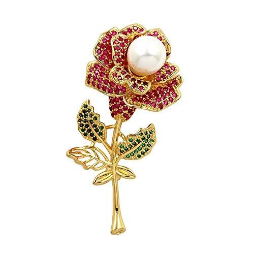 U/N Hermosos broches de Flor Rosa de circonita cúbica Fucsia para Mujer en Color Dorado