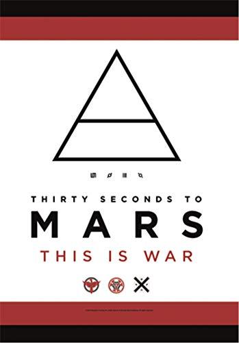Heart Rock Bandiera Originale 30 Seconds to Mars This is War, Tessuto, Multicolore, 110x75x0.1 cm