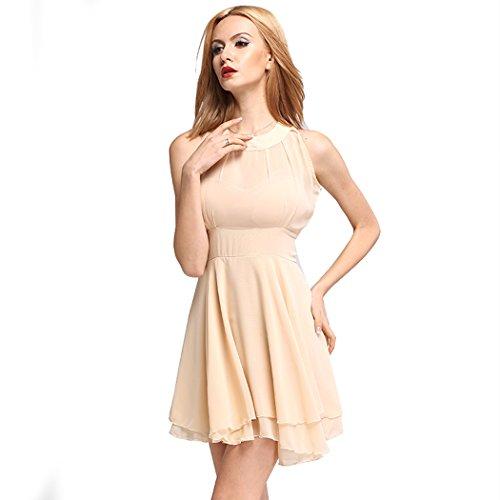 Zeagoo Damen Bandage Spitze Kleider mit Schößchen Partykleid Abendkleid (EU 34, Khaki)