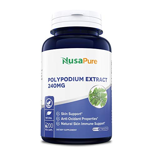 Polypodium Leucotomos Extract 240mg 200 Veggie Capsules (Vegetarian, Non-GMO & Gluten Free) Antioxidant Properties, Natural Skin Care Supplement