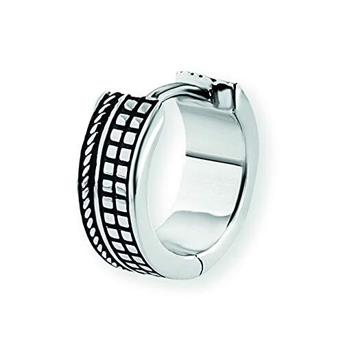Cai Herren Creole 925/- Sterling Silber 1,25cm Glänzend mit schwarzer Farbe ohne Stein Silbergrau 132210510