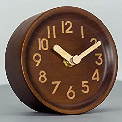 AROMUSTIME 4-Inches Round Wooden Desk Clock with Arabic Numerals Non-Ticking Silent Battery Operated, Brown