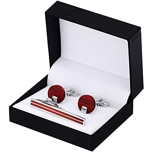 XQKXHZ Gemelos De Padrino, Conjunto Combinado De Gemelos Clip De Corbata Diseño Sándalo Rojo Plateado para Hombres con Caja De Regalos, para Bodas 3 Piezas