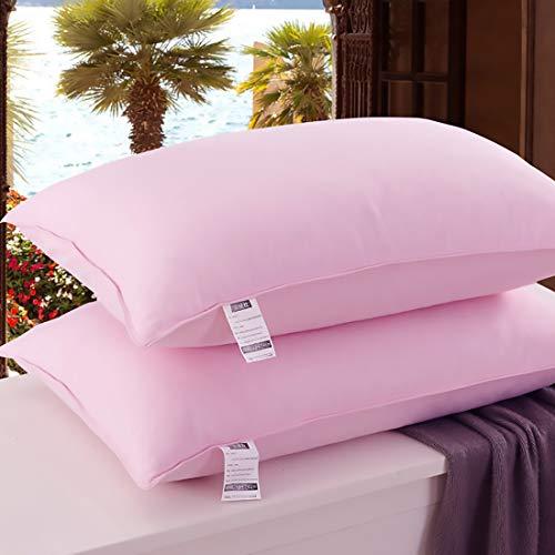Natuurlijk Donzen Kussen Voor Slaap, Hoog Elastisch, Vulbaar Zacht Bedkussen Voor Volwassenen, Geschikt Voor Familie En Hotel Standaard Vervangend Kussen, 2 Packs 48 * 74cm,Pink