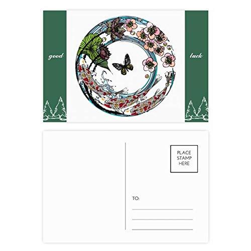 Karpfen-Sakuura Lotus-Muster, Geometrie, Glücksbringer, Postkarten-Set, Karten, Postkarte, Seite, 20 Stück