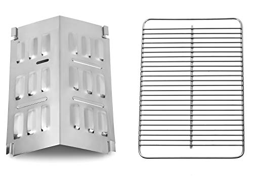 Broilmann 80631 Stainless Steel Cooking Grate and 9201 Stainless Steel Flavorizer Bar, Cooking Grate fits Weber Gas and Charcoal Go-Anywhere Grill, Flavorizer Bar fits Weber Gas Go-Anywhere Grill Grates Grids