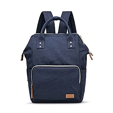 Multifunction Canvas Backpack Travel Bags for Man Woman Casual Laptop Rucksack (Semizipper Pocket x Blue EB)